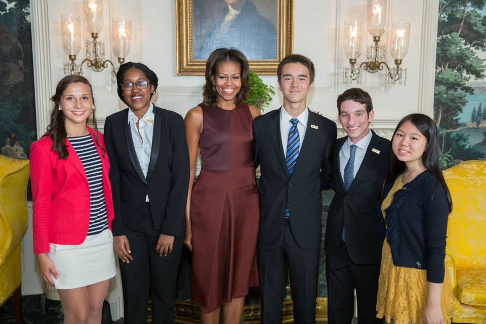 From L: Michaela Coplen, Sojourner Ahebee, First Lady Michelle Obama, Nathan Cummings, Louis Lafair, and Aline. Official White House photo by Lawrence Jackson.