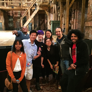 With cast member Daveed Diggs (far R.), writer/star Lin-Manuel Miranda (next to Diggs), and other National Student Poets